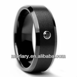 stainless steel jewelry Men's Black Diamond Accent Black Ring