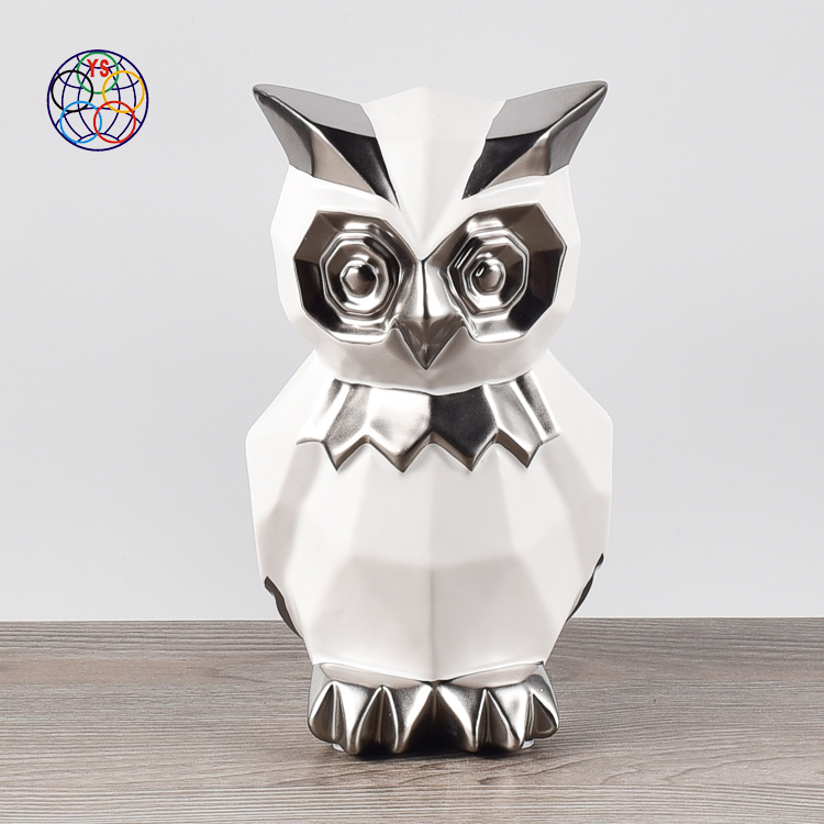 Fancy geometric tangent plane white modern gift item ceramic silver owl handicraft garden ornament