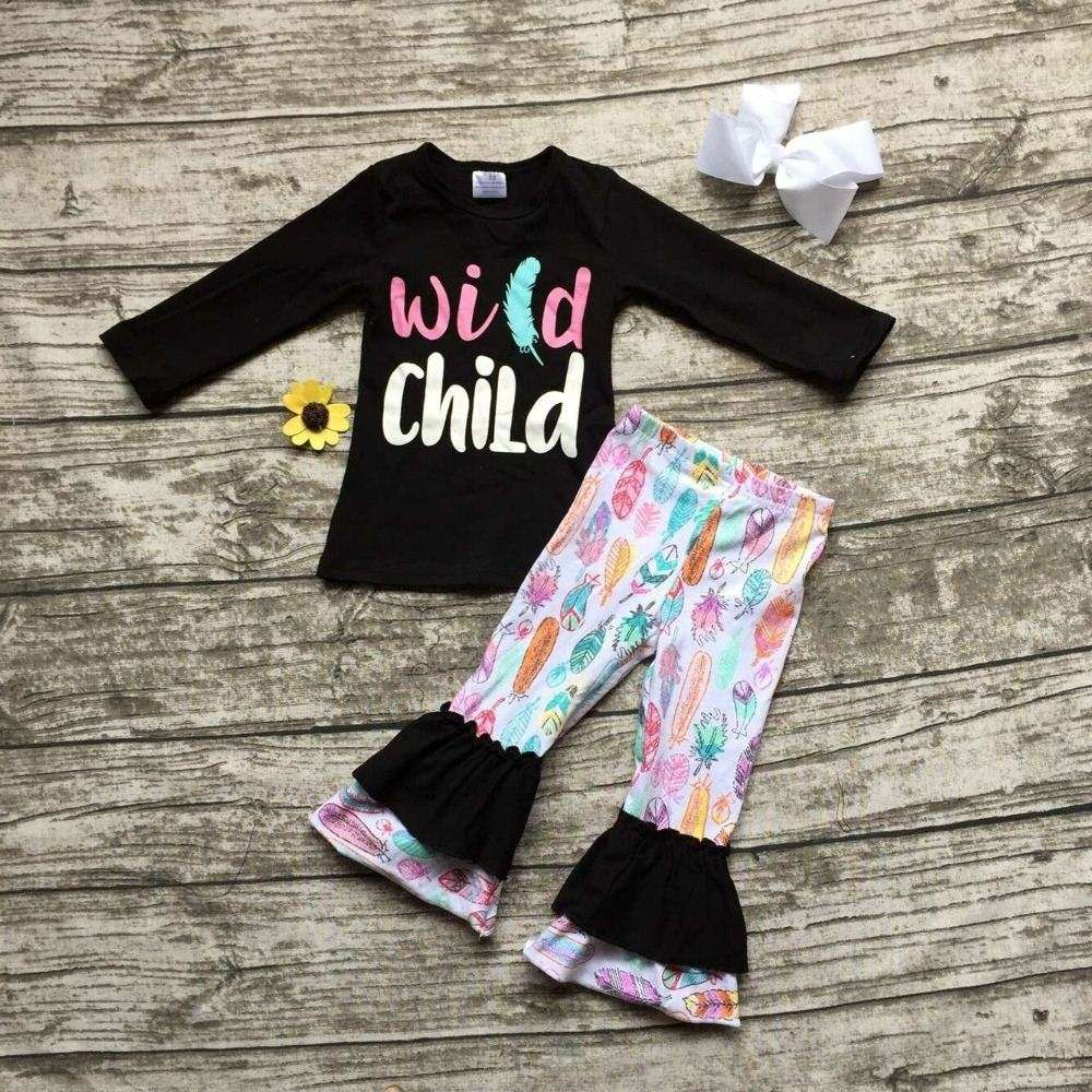 2016 WILD CHILD clothing fall girls boutique clothing black top with feather pant baby girls long sleeve outfits with bows