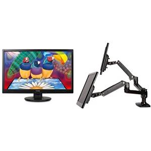 ViewSonic VA2446M-LED 24-Inch LED-Lit LCD Monitor (2-Pack) and AmazonBasics Dual Side-by-Side Monitor Arm Set