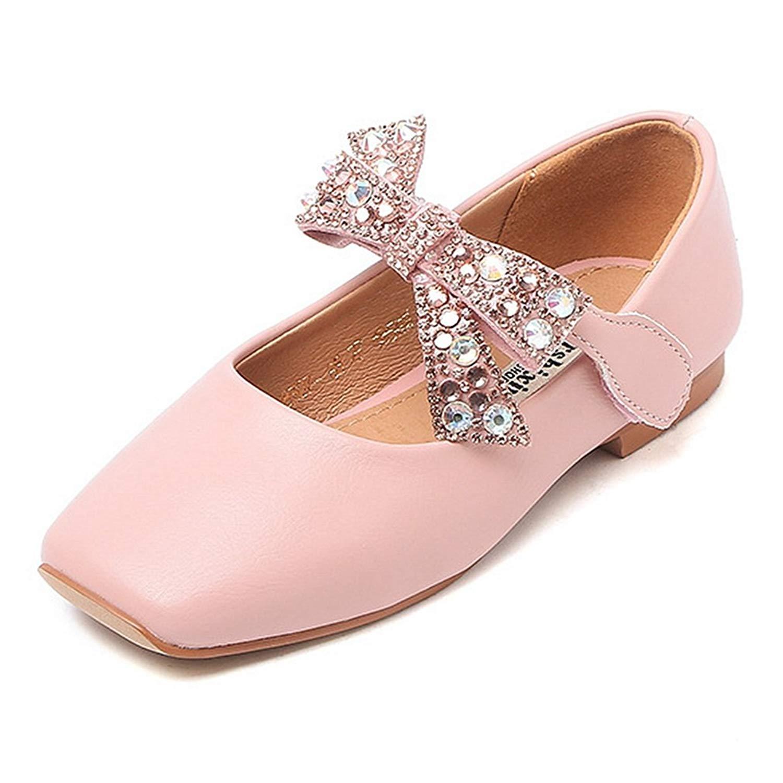 4f90ce42ec6 CYBLING Girls Ballet Flats Glitter Bow Ankle Strap Children s Ballerina  Shoes (Toddler Little Kid
