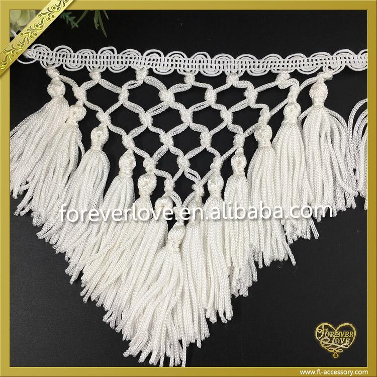White Decorative Rayon Fringe Trim Silk Tassels For Sarees ...