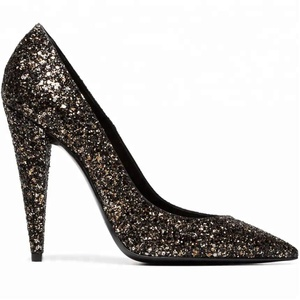 Wholesale new fashion elegant gegrade glitter shoe design pointed toe spike heel pumps ladies pumps