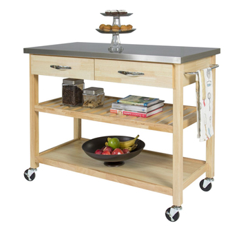 Stainless Steel Top Wooden Rolling Kitchen Utility Cart With Wheels And Drawers
