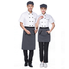 Wholesale Best Price New Fashion Restaurant Hotel White Chef Clothes Short Sleeve Chef Coat Jacket Uniform Apron
