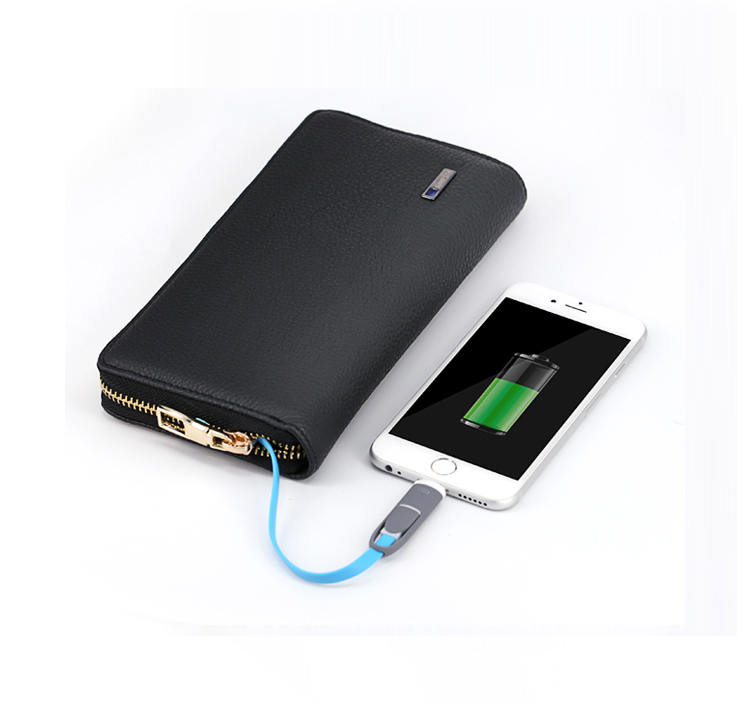 Security genuine leather money wallet anti-theft alarm with power bank and bluetooth