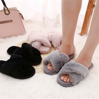 17ba0b4fcf3be S36 Furry Cross Sandals Slip On Flat Forms Faux Fur Slippers Ladies ...