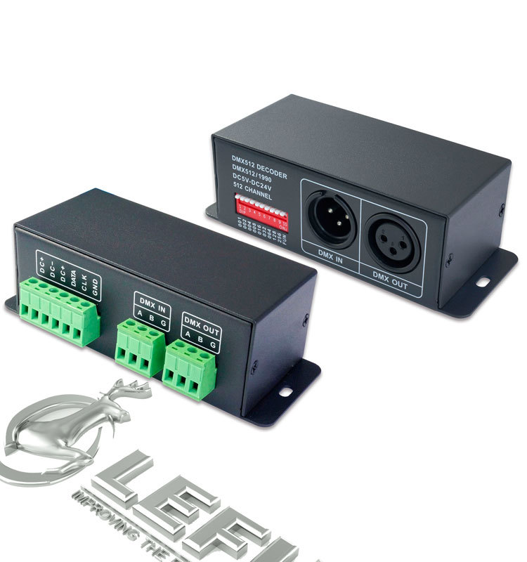 Dc5-24v,Xlr-3,Green Terminal,Led Spi Dmx Signal Decoder