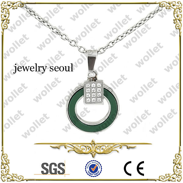Fashion Cubic Zirconia Stainless Steel Circle Pendant Jewelry Seoul