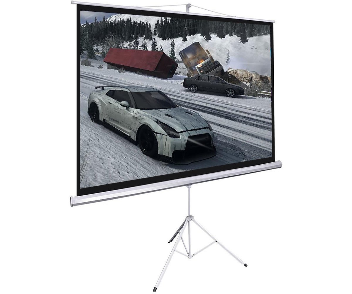 "100"" Projector 16:9 Portable Projection Screen Tripod Pull-up Matte White High Quality"