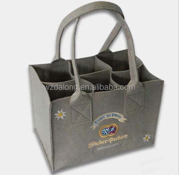 Six Bottle Beer Felt Bag With High Quality Wine