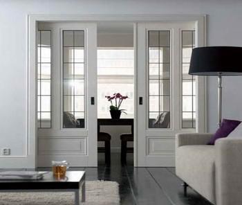 New Design Interior Wood Frame Accordion Screen Door Balcony Hanging Glass  Sliding Door
