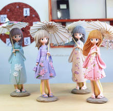 Japanese Umbrellas Girl Resin Character Statue