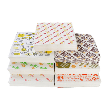 custom hamburger packaging tissue paper printing wrapping grease proof paper sandwich greaseproof shawarma food grade wax paper