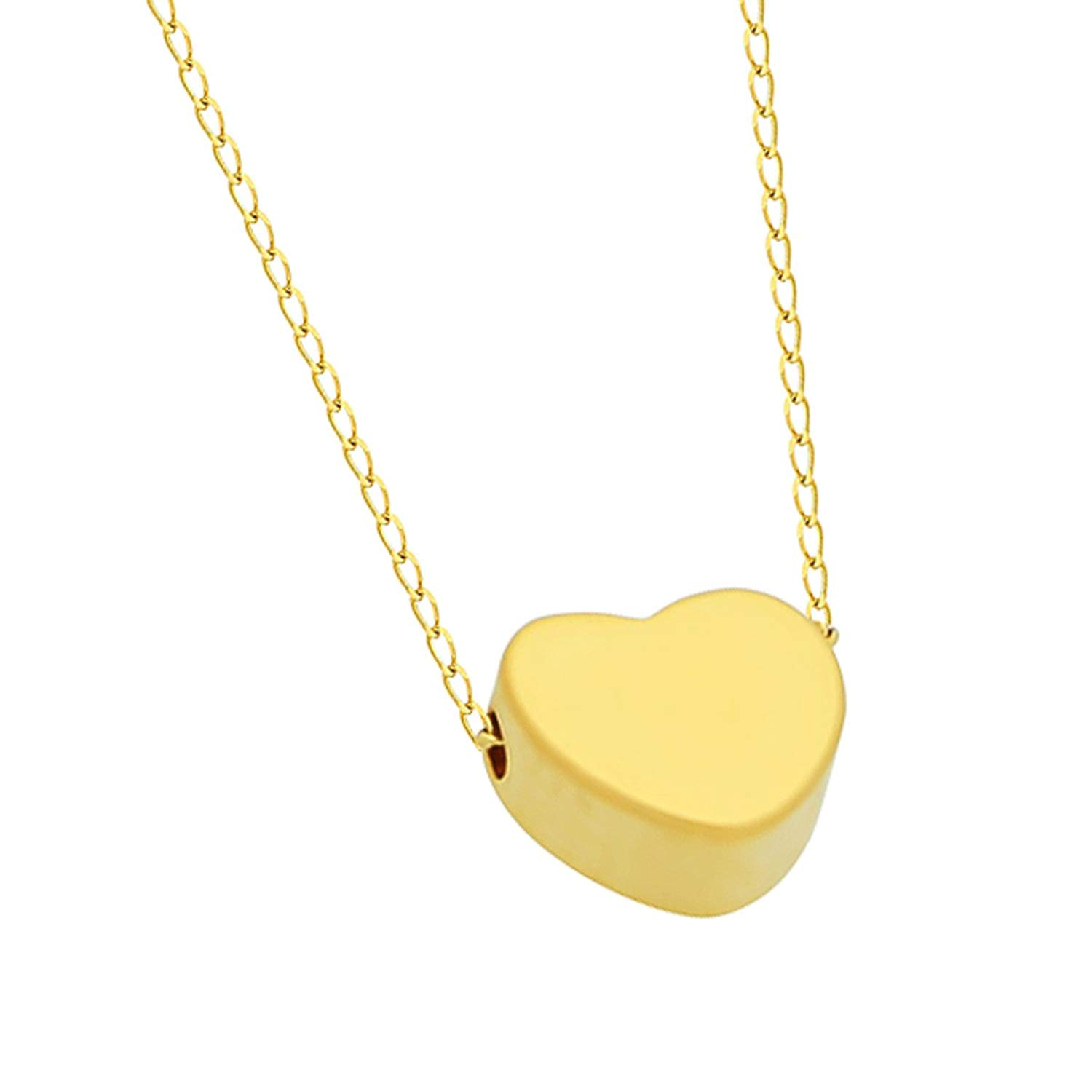 3e1fbc5ea Get Quotations · 925 Sterling Silver Tiny 14K Gold Plated Heart Necklace  Floating Gold Heart Necklace Simple Heart Charm
