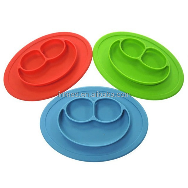 Silicone Plate Suction Divided Kids Dinner Plates Placemat Tray Baby Silicone Plate