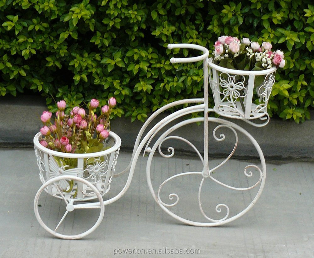 Garden Wrought Iron 2 Tier Bicycle Planter Plant Sand Decorative Basket