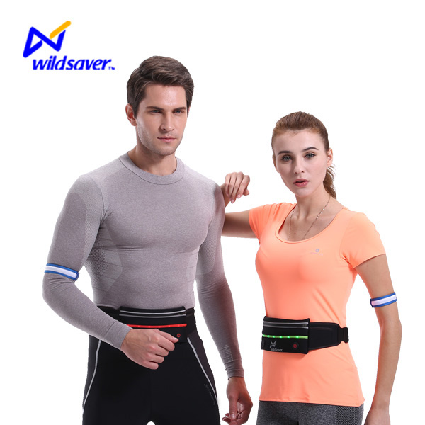 Night Safety led sport running jogging elastic water resistant waist bag