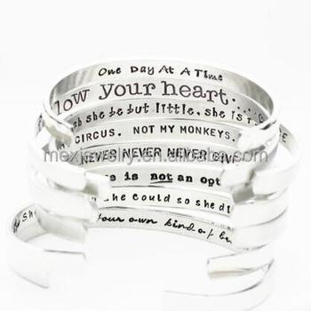 Inspirational Jewelry Customized Letters Cuffs Hand Stamped Bracelets Blank Cuff Bracelet Bangle