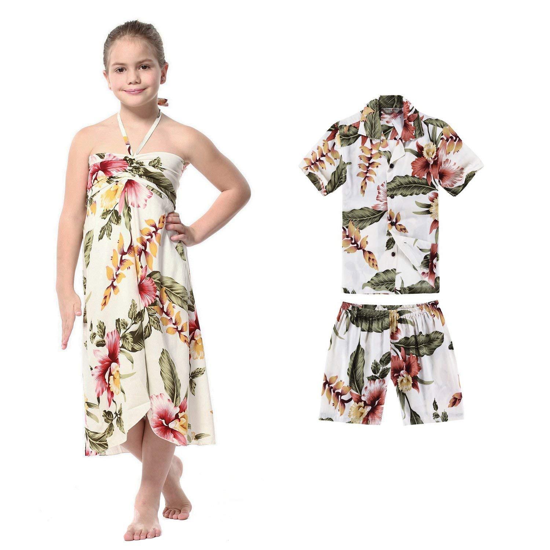d4b11b917350 Get Quotations · Matching Boy Girl Siblings Hawaiian Luau Outfits in  Rafelsia in Cream Black