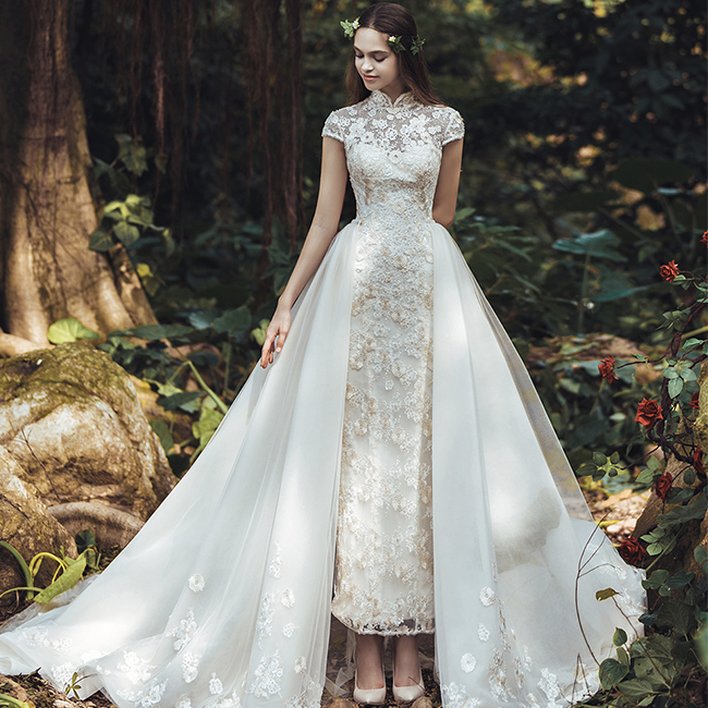 Long Tail West Wedding Gown Africa Wedding Dress With Detachable