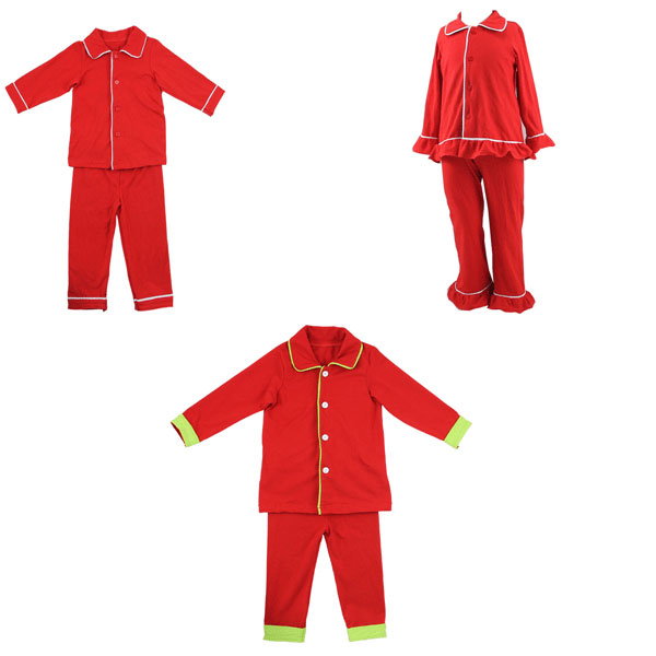 KAIYO spring boutique retail family pajama sets girls and boys shirt and pant pieces plain red sleepwear in pajamas