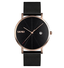 top manufacturer skmei 9183 stylish men rose gold stainless steel mesh band wrist watch men fashion watch oem