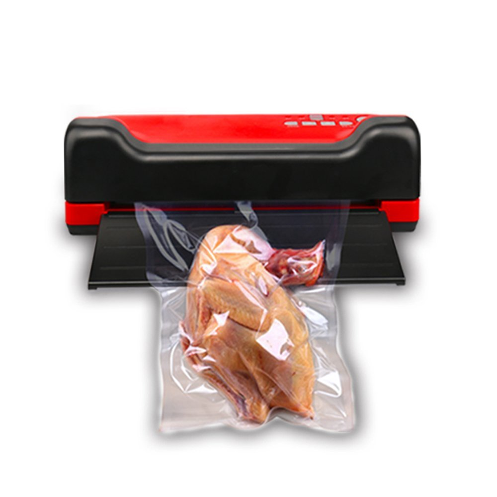 Wotefusi Vacuum Sealer Machine Automatic Bags Sealing Machine for Household Dry/Wet Food Storage 110V-220V Black & Red