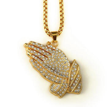 Shiny gold hip hop big micro paved praying hands pendant necklace shiny gold hip hop big micro paved praying hands pendant necklace aloadofball Choice Image