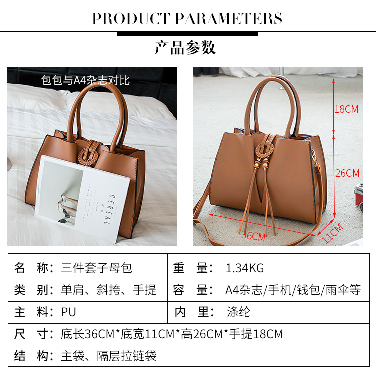 SLB003 New style top brand design 3 set travel bag women messenger big bags