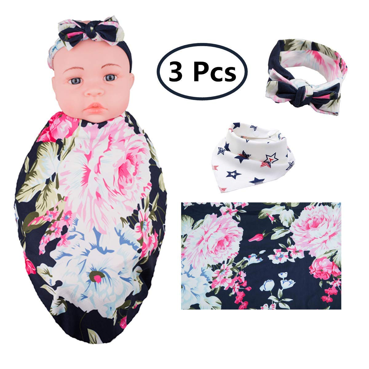 Receiving Blanket Headband Set,Newborn Baby Swaddle with Flower Print and Free Bib(Navy)