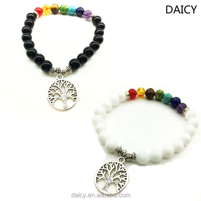 DAICY cheap wholesale yoga energy tree of life charms beads chakra bracelet