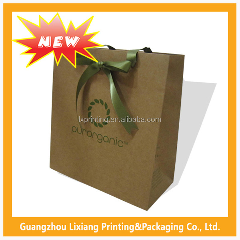 Guangzhou Factory Machine Making Private Shopping White Waterproof Branded Custom Brown Kraft Paper Bag