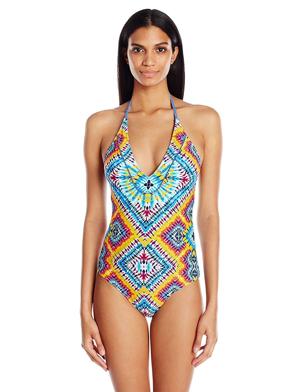 Jessica Simpson Women's Surfside Tye Dye Lace Back Maillot One-Piece Swimsuit