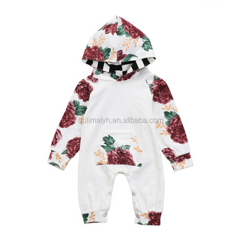 d88890b4e0a0 New Spring baby girl s long sleeve floral romper high quality toddlers kids  jumpsuit with pocket