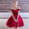 Sexy Red Tulle Bridal Prom Dress V Neck Off Shoulder Cap Sleeve Pleated Short Mini Dress Wedding