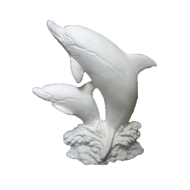 Flying dolphin white bisque porcelain