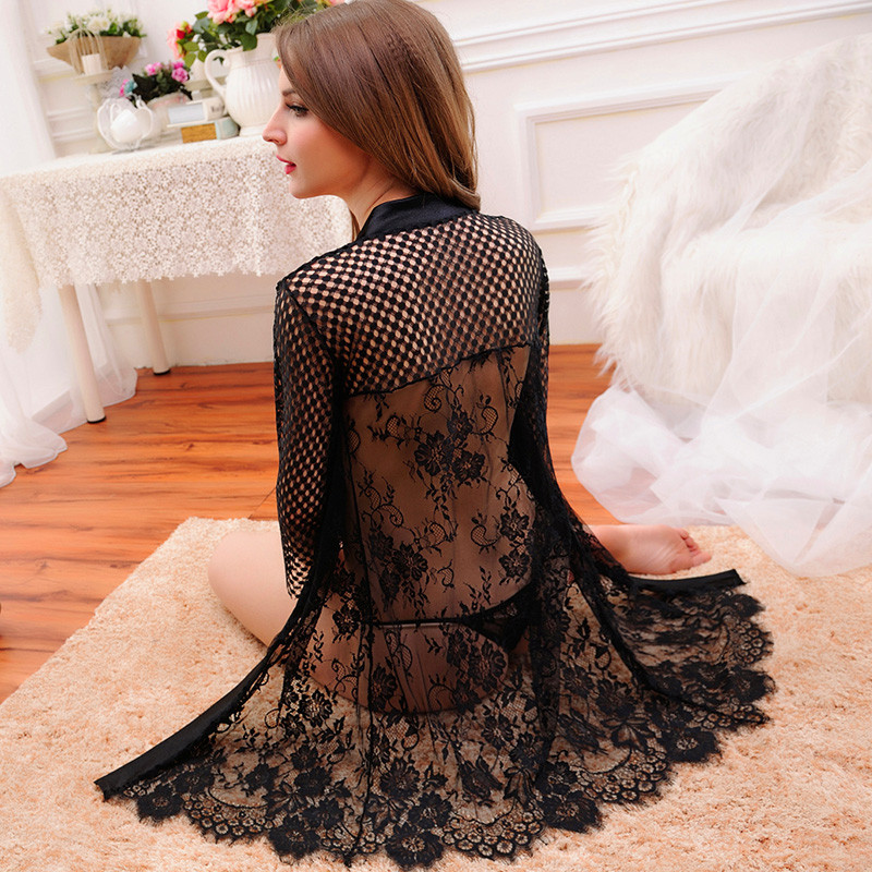 dc587489871f 2019 Wholesale Black Robe Sexy Hollow Out Nightgown With G String ...