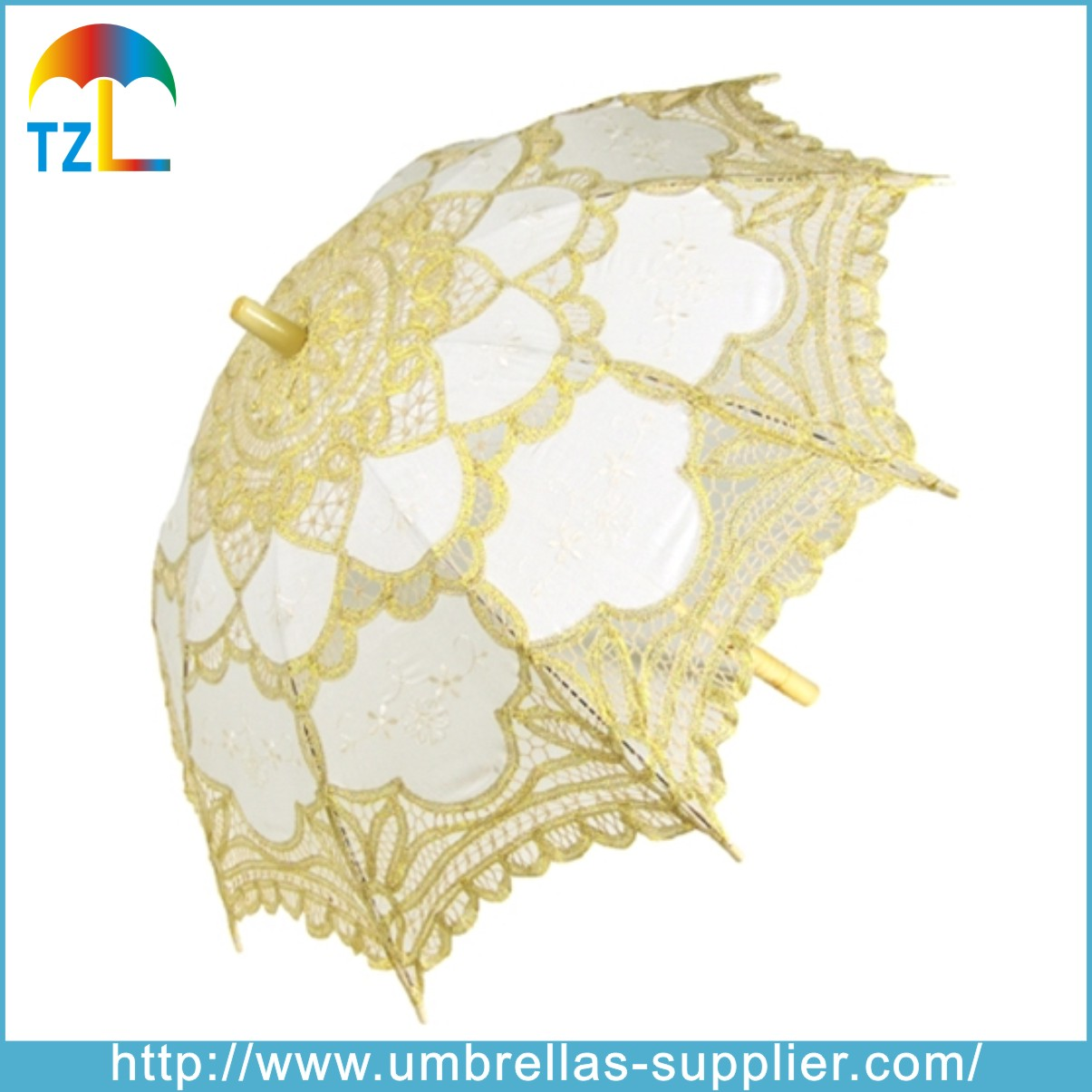 Chinese White Lace Wood Material Decoration Umbrella