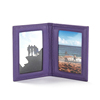 Double Side Beautiful Color Folding Travel Frame Full Grain Leather Six Photo Picture Frame