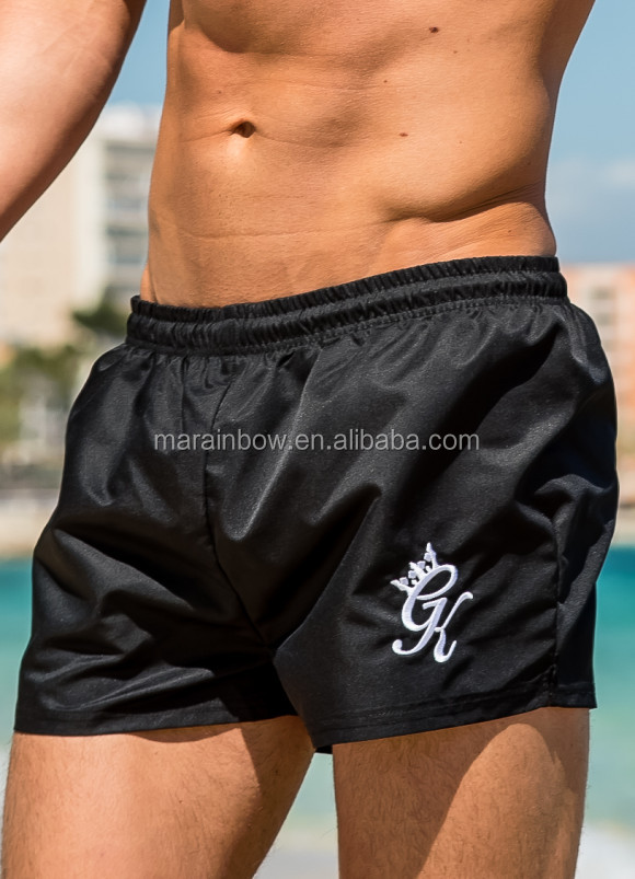 Wholesale Black Swim Shorts for Men 100% Polyester Dri-Fit Shorts with 2 Side Pockets OEM Running Shorts