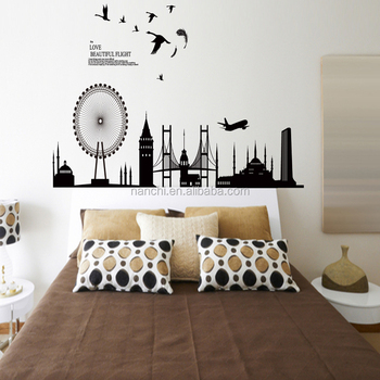 Modern City Design Love Beautiful Flight Wall Stickers Home Bedroom Living Room Sofa Decoration Removable Waterproof