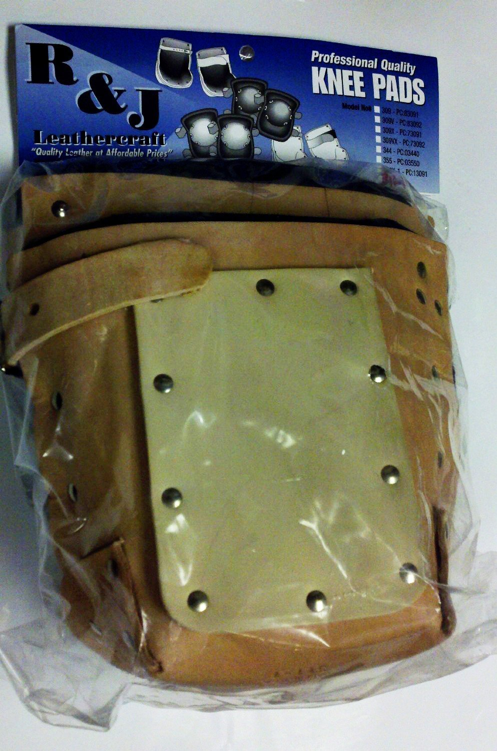 """R&J Leathercraft, 311-1, Extra Heavy Duty Professional Knee Pads w/ Neolite Sole, 1"""" wide Leather Strap, Made in USA*****"""