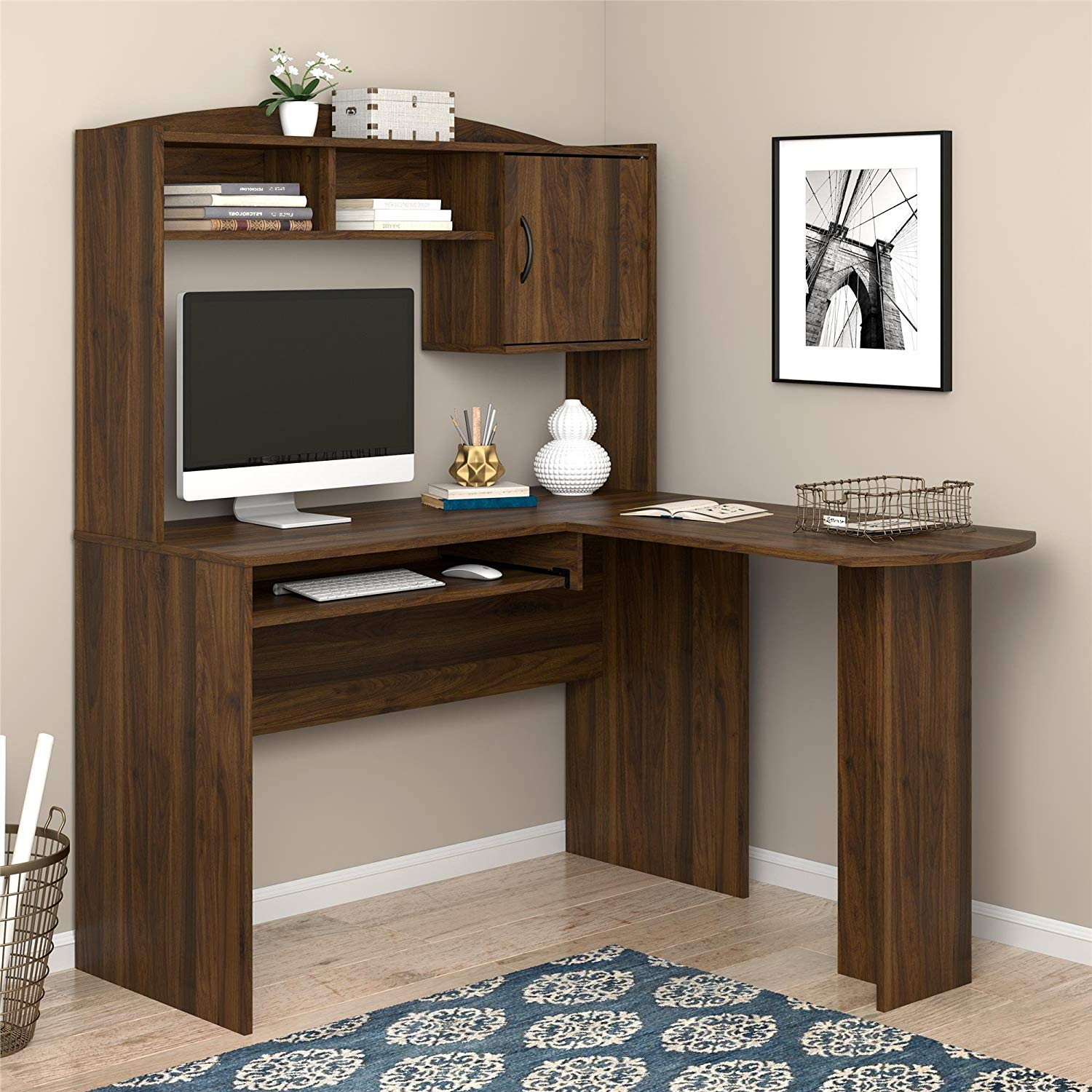 Multi-functional L-Shaped Desk with Hutch Made of Wood, Storage Cabinet and Two Shelves, Slide-out Keyboard Tray, Made to Fit in a Corner, Walnut + Expert Home Guide
