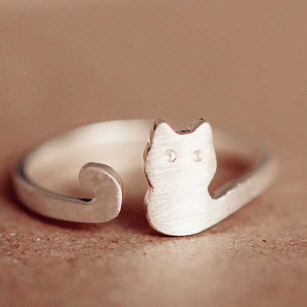 tiny delicated adjustable 925 Sterling Silver little cat ring