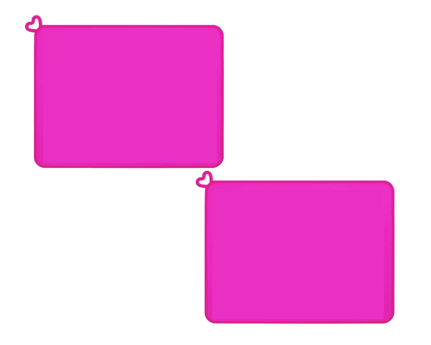 wellhouse Silicone Fold-and-Go Kids Placemat Heat Resistant Non-slip Table Mat Reusable Soft Waterproof Coaster (Pink-2 Pack)