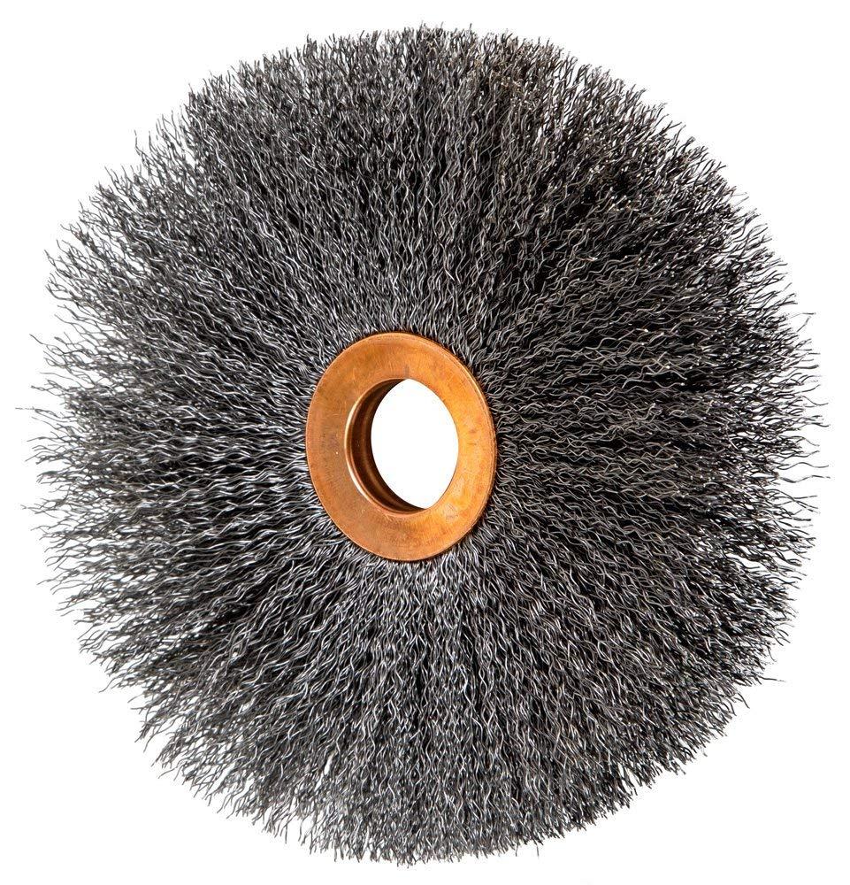 3,850 rpm Carbon Steel Wire Pack of 2 14 Diameter 2 Arbor Hole PFERD Inc. .014 Wire Size 2 Arbor Hole PFERD 82062 Heavy Duty Short Trim Knot Wheel Wire Brush 14 Diameter