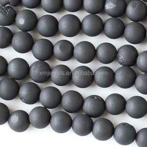 Wholesale Electroplated Black Druzy Agate stone 8mm Round Beads