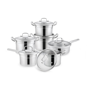 Rolled Edge Stainless Steel German Induction Compatible Bottom Cookware Set
