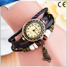 China Relojes Mujer 2017 Fashion Women Casual Leather Weave Wrap Wrist OWL Watch Charm Bracelet Watches VW021